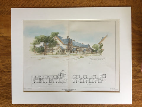 Semi Detached Houses, Madison, WI, 1904, Elmer Gray, Original Hand Colored -