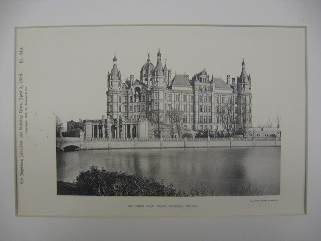 Grand Ducal Palace, Schwerin, Prussia, 1892, Unknown