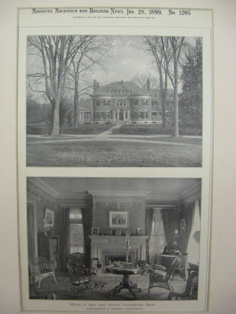 House of John Swann, Stockbridge, MA, 1899, Stephenson and Greene