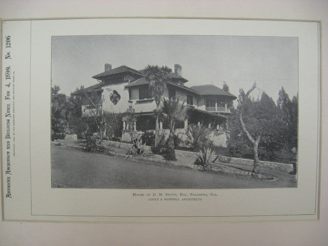 House of D. M. Smyth, Pasadena, CA, 1899, Locke and Munsell