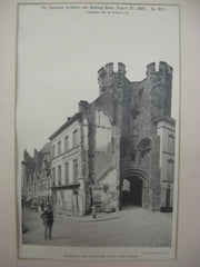Entrance to the Chateau des Comtes, Ghent, Belgium, EUR, 1892