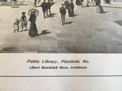 Public Library, Pittsfield, ME, 1904, A Randolph Ross, Original Hand Colored -