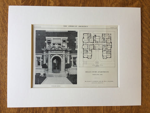 Belle Court Apartments, Portland, OR, 1914, Original Lithograph -