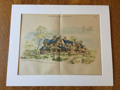 Cottages, Charles Clark, Newton Center, MA, 1883, Original Hand Colored