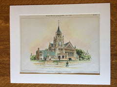 Congregational Church, Whitinsville, MA, 1899, Henry Phillips, Original Hand Colored