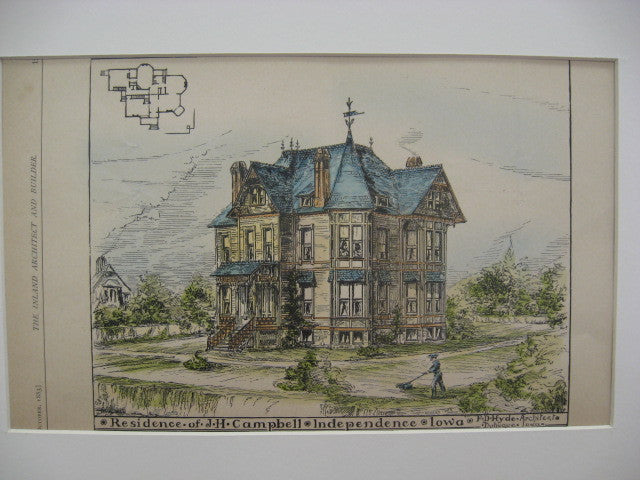 Residence of J. H. Campbell, Independence, IA, 1889, F. D. Hyde