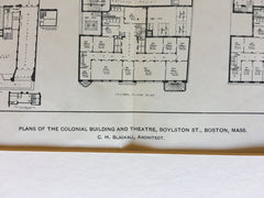 Colonial Building, Theatre, Plans, Boston, MA, 1901, Original Hand Colored