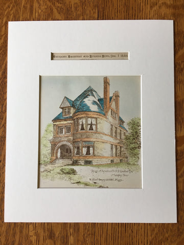 A B Goodbar House, Memphis, TN, 1888, W Albert Swasey, Original Hand Colored -