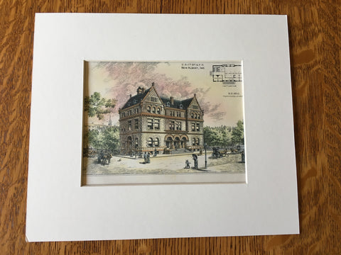 Court House & Post Office, Albany, IN, 1886, M E Bell, Original Hand Colored -