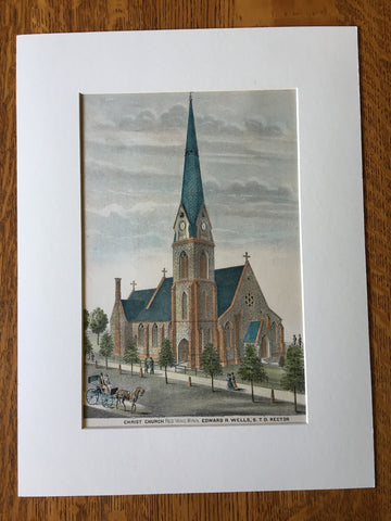 Christ Church, Red Wing, MN, 1874, E Wells, Rector, Original Hand Colored -
