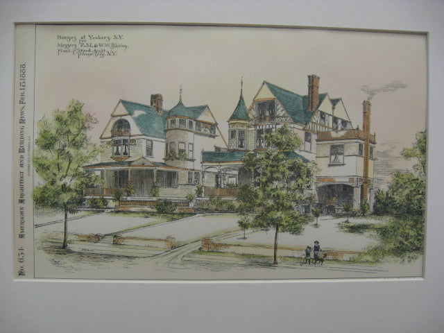 Houses for E. M. and W. W. Bilven, Yonkers, NY, 1888, Frank F. Ward