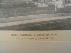 Union Church, Worcester, MA, 1897, Earle and Fisher