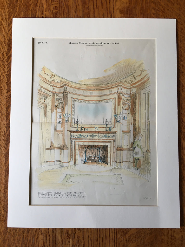 House, John Devlin, Dining Room Mantel, Boston, MA, 1895, Original Hand Colored