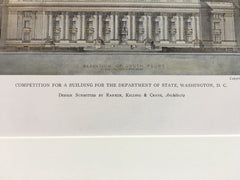 Department of State Building, Washington DC, 1911, Original Hand Colored -