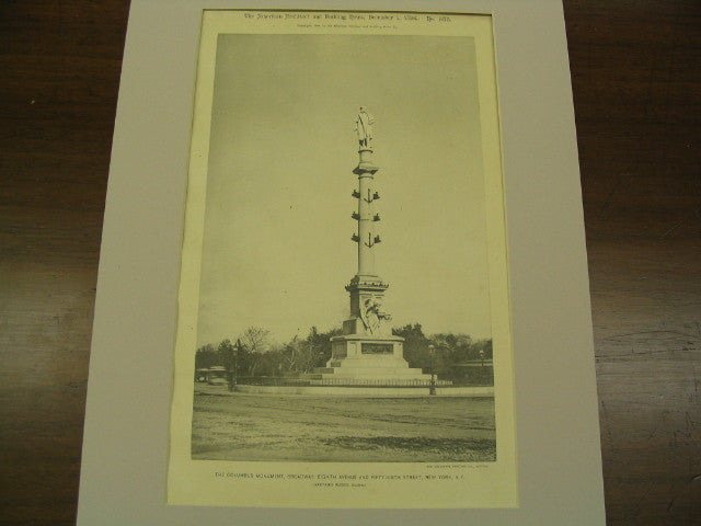 Columbus Monument on Broadway, Eighth Avenue and Fifty-Ninth Street, New York, NY, 1894, Gaetano Russo