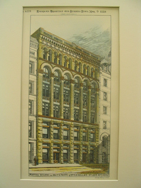 Store Building for F. H. Phipps and R. R. Wallace, St. Louis, MO, 1889, A. F. Rosenheim