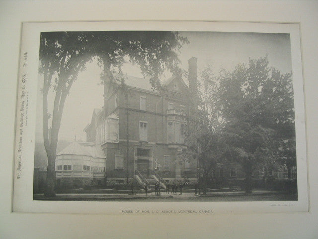House of Hon. J. C. Abbott, Montreal, CAN, 1888