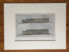 Department of State Building Design, Washington DC, 1911, Hand Colored Original -