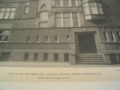 House of William Cramp on 242 South Sixteenth Street, Philadelphia, PA, 1895, Hazelhurst & Huckel