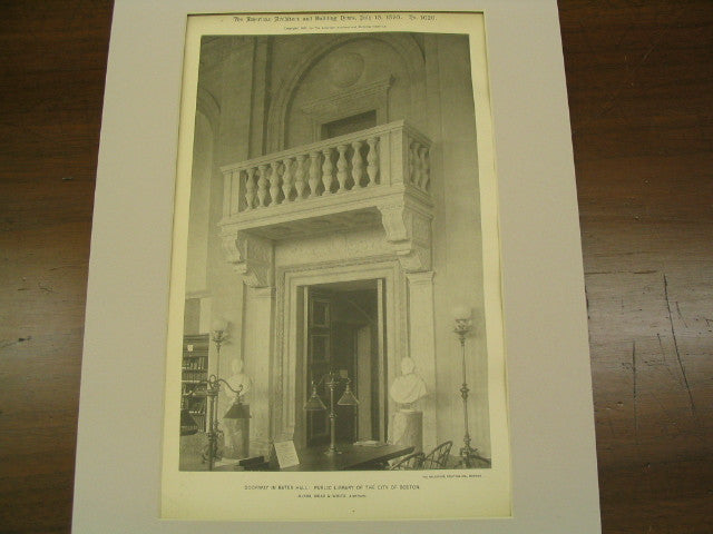 Doorway in Bates Hall: Public Library of the City, Boston, MA, 1895, McKim, Mead & White