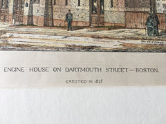 Engine House, Dartmouth Street, Boston, MA, 1876, Original Hand Colored