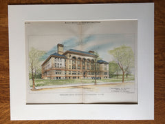 English High School, Cambridge, MA, 1890, Chamberlin & Austin, Original Hand Colored