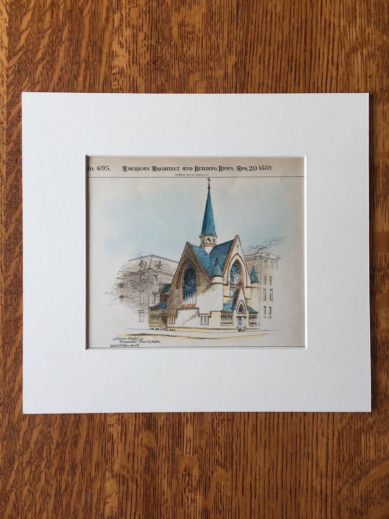 Mission Chapel for Emmanuel Church, Boston, MA, 1889, Rotch and Tilden, Original Hand Colored