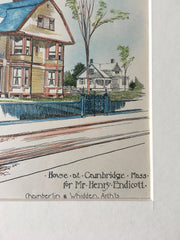 Henry Endicott House, Cambridge, MA, 1888, Chamberlin & Whidden, Original Hand Colored