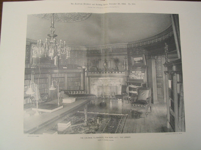 The Library of the Colonial Club-House, New York, NY, 1894, Henry F. Kilburn