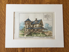 O S Fowler House, Manchester, MA, 1878, Cabot & Chandler, Original Hand Colored -