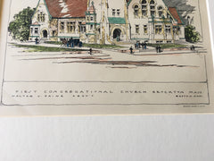 First Congregational Church, Brockton, MA, 1897, W Paine, Original Hand Colored -