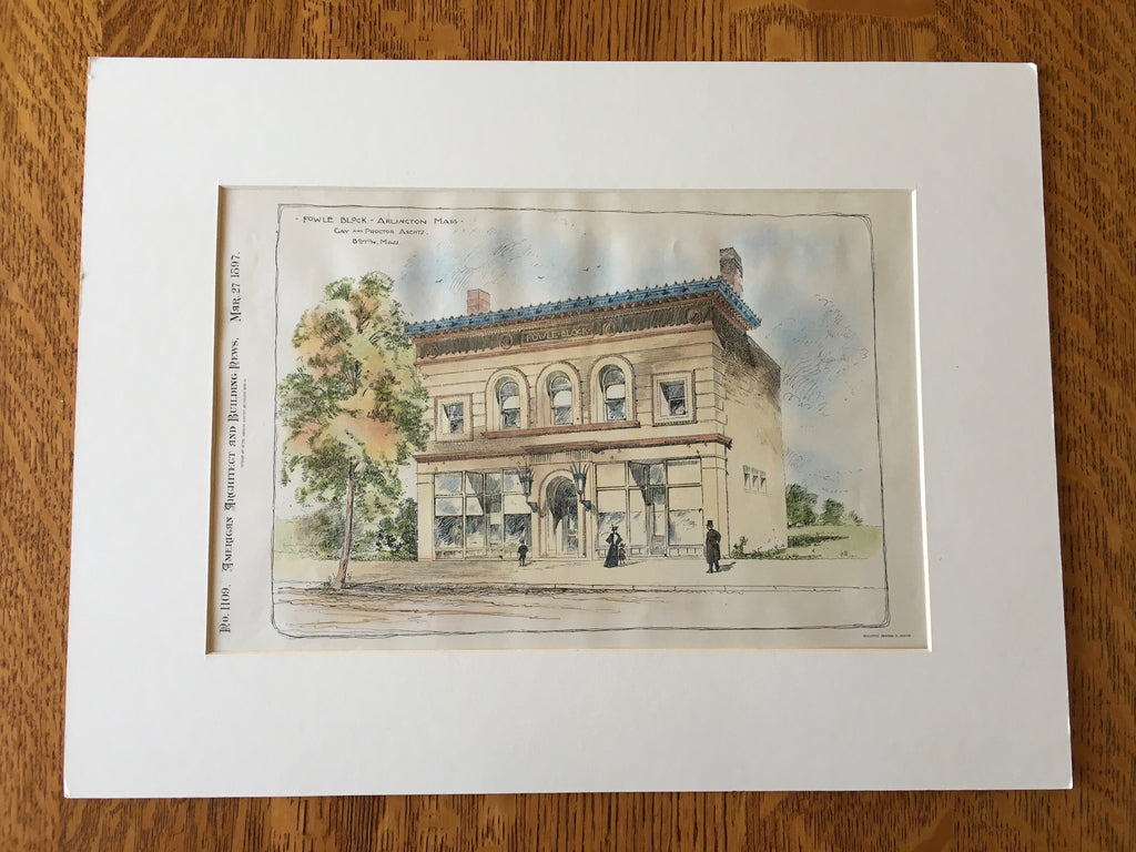 Fowle Block, Arlington, MA, 1897, Gay & Proctor, Original Hand Colored -