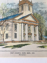 First Church, Ware and Northampton, MA, 1895, Original Hand Colored -