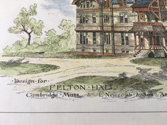 Felton Hall, Cambridge, MA, 1879, L Newcomb & Son, Original Hand Colored -