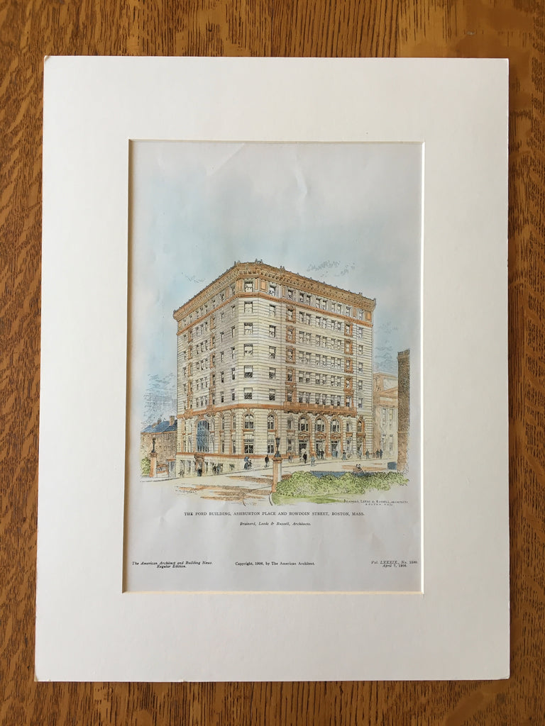 Ford Building, Ashburton & Bowdoin, Boston, MA, 1906, Original Hand Colored -