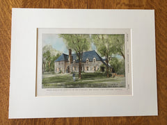 Fire Station, Wellesley, MA, 1928, Original Hand Colored -