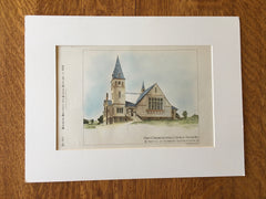 First Congregational Church, Norwood, MA, 1884, Original Hand Colored -