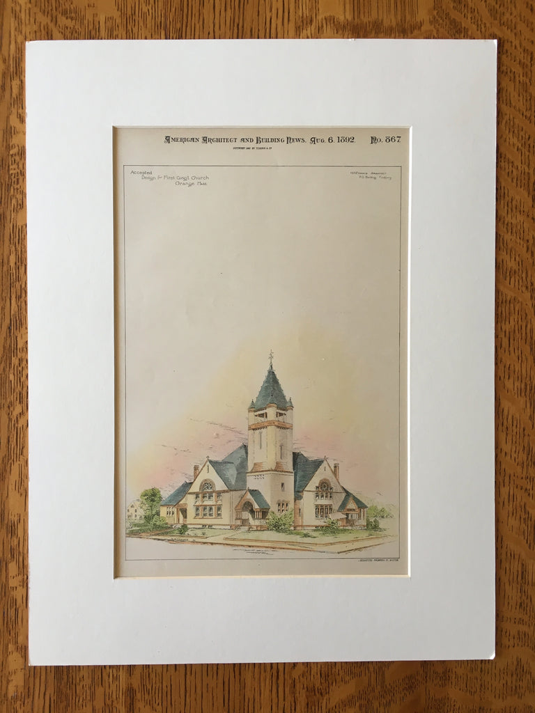 First Congregational Church, Orange, MA, 1892, H M Francis, Original Hand Colored