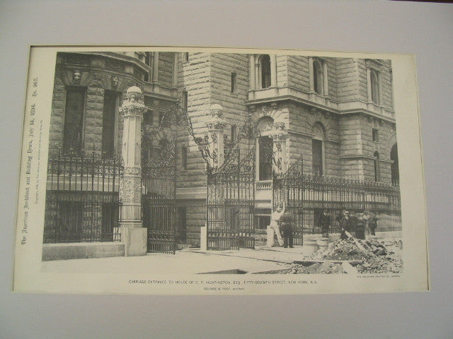 Carriage Entrance to House of C. P. Huntington on Fifty-Seventh Street, New York, NY, 1894, George B. Post