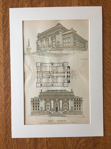 Court House, Baltimore, MD, 1885, J L Wees, Hand Colored Original -