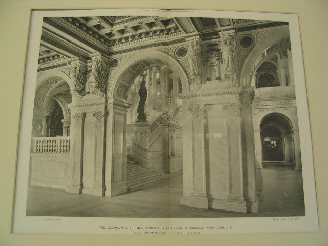 View Looking Into the Main Staircase-Hall: Library of Congress, Washington, DC, 1897, Smithmeyer, Pelz and Casey