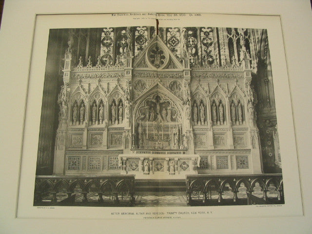 Astor Memorial Altar and Reredos at Trinity Church, New York, NY, 1896, Frederick Clarke Withers