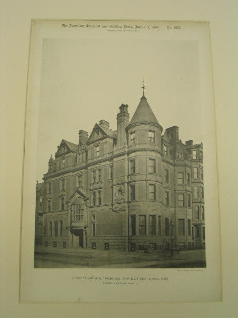 House of Nathaniel Thayer, Fairfield Street, Boston, MA, 1888, Sturgis and Brigham