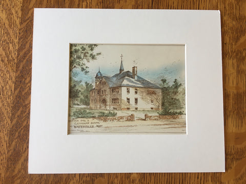 Grammar School, Waterville, ME, 1887, John Calvin Stevens, Original Hand Colored -