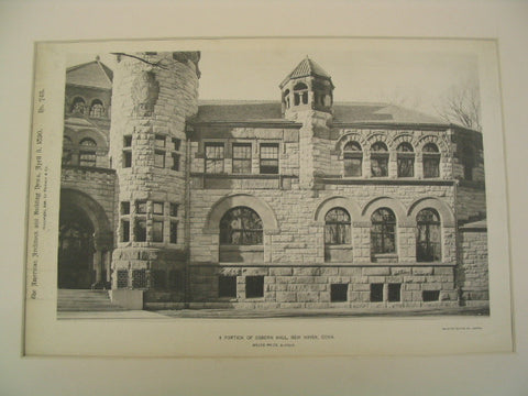 A Portion of Osborn Hall at Yale, New Haven, CT, 1890, Bruce Price