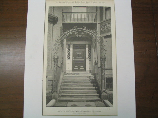 Doorway to House of John Peabody, Esq., Boston, MA, 1889, Peabody and Stearns