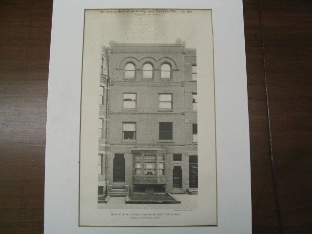 Dr. W. B. Parker on Marlborough St., Boston, MA, 1889, Hartwell and Richardson