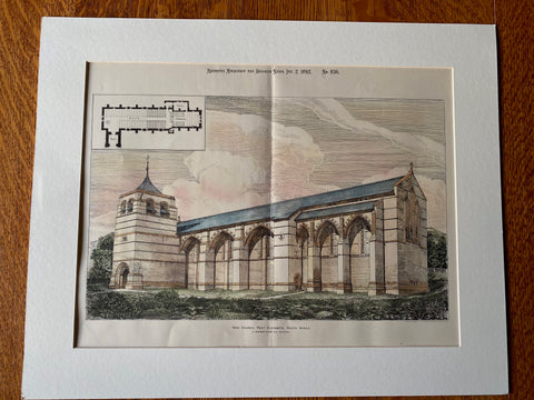 New Church, Port Elizabeth, South Africa, 1892, R N Shaw, Hand Colored Original -