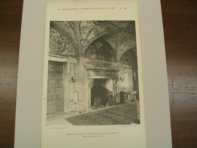 Fireplace in House Built for Henry Villard, New York, NY, 1887, McKim, Mead & White