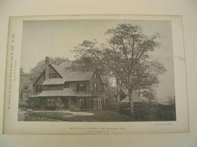 House of J. G. Mitchell, ESQ., Brookline, MA, 1887, Cabot & Chandler
